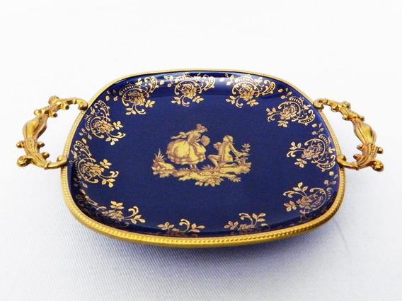 Despojador De Porcelana Limoges Cobalto Con Escena