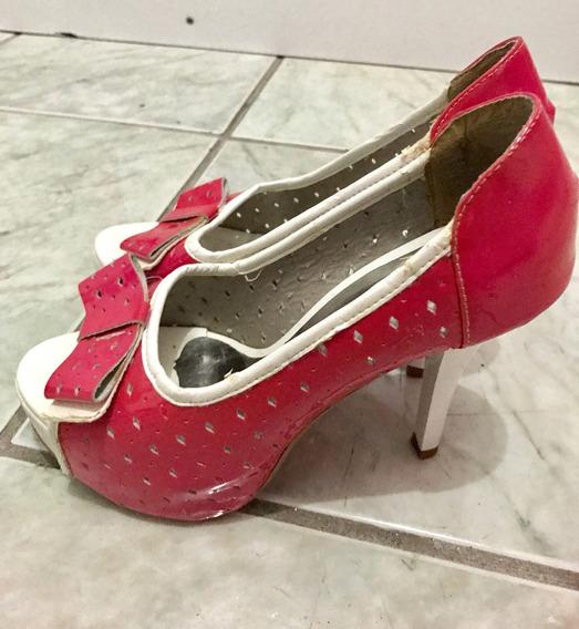 Sapato Peep Toe Rafaela Coutti Pink E Branco
