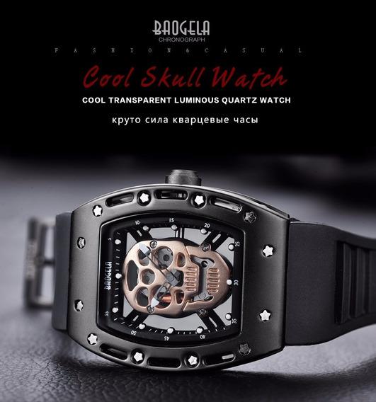 Relógio Masculino Militar Skull Crânio Caveira Original