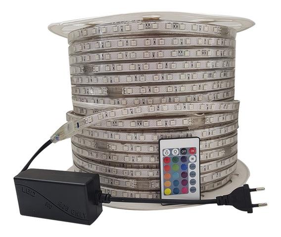 Fita Led 5050 Rgb C/ 1 Controle+fonte110v 10metros Ip65