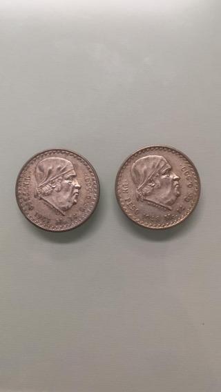 2 Monedas De Plata - 1 Peso 1947 Y 1948 - Morelos Cacheton
