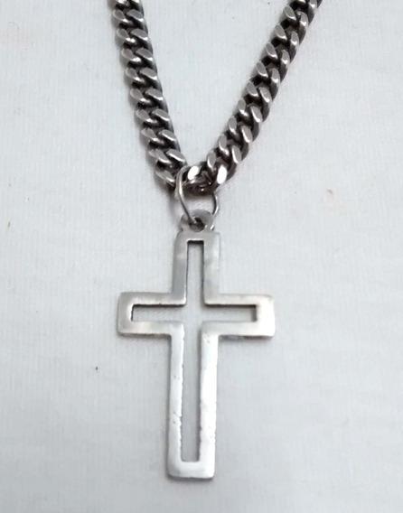 Corrente + Pingente Crucifixo Em Prata De Lei 925