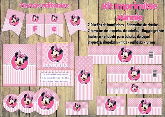 Minnie Rosa Imprimible - Textos Editables