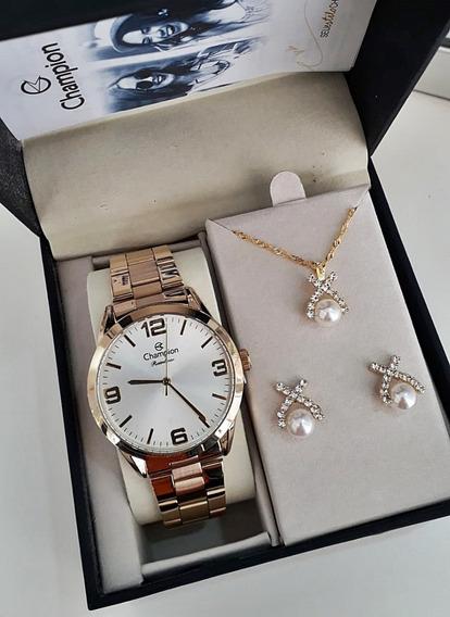 Relógio Feminino Dourado Champion Cn29892z + Kit Bijouteria