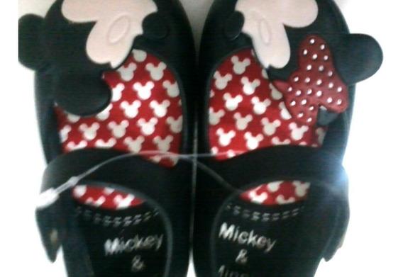 2 Par De Sandálias Da Minnie & Mickey Infantil Tam 17/18