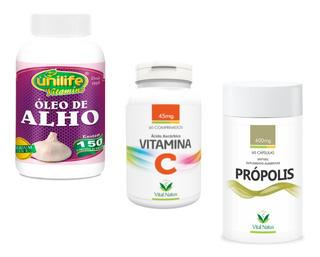 Vitamina C 60 Comps + Óleo De 150 Cáps + Própolis 60 Cáps