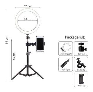 Anillo De Luz De Vídeos 26cm Regulable Led Selfie Ring Light