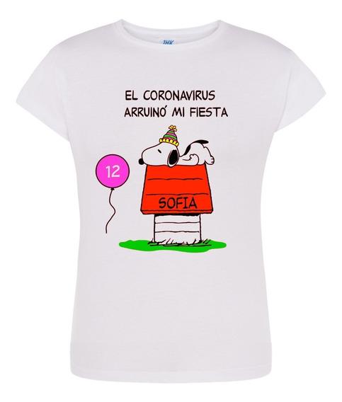 Playera Personalizada Snoopy Cumpleaños Cuarentena