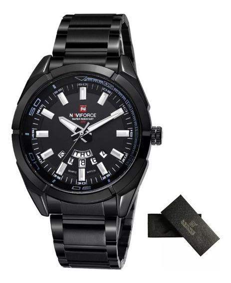 Relógio Naviforce Nf9038 Original Aço Elegante Preto/preto
