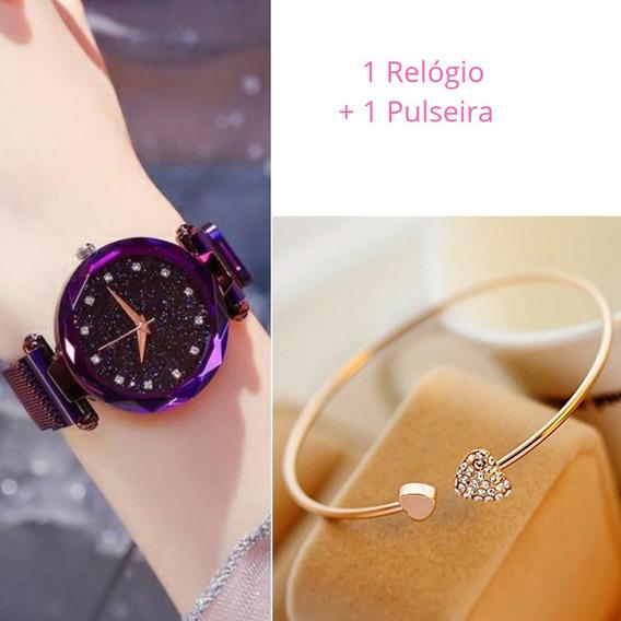 Relógio Feminino Céu Estrelado Brilhante Sky + 1 Pulseira