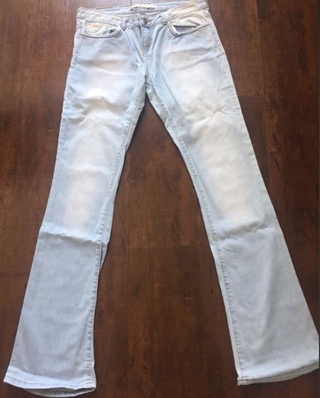 Zara Número 40 Calça Jeans Flare Azul-clara Linda !