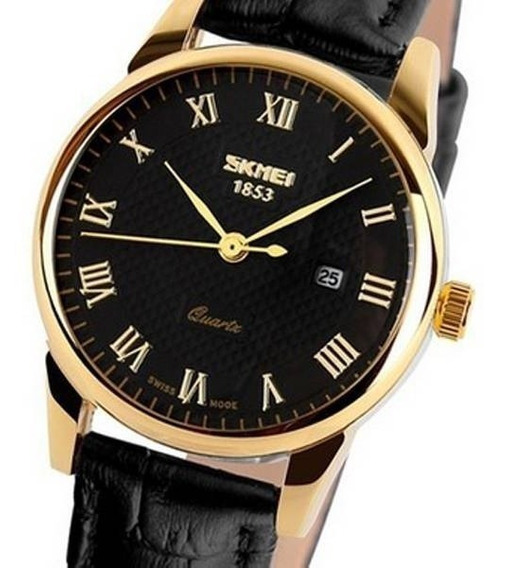 Relógio Masculino Skmei Analógico 9058 Preto/dourado C/nota