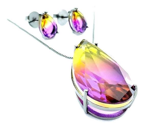 Cordão E Brincos Cristal Ametista Rainbow Ródio Negro 4654