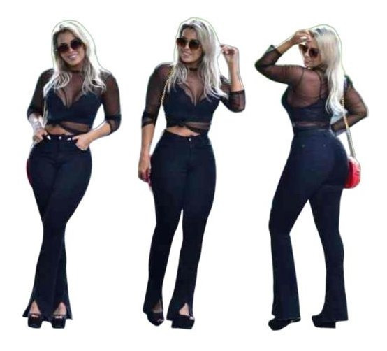 Calça Jeans Flare Empina Bumbum Ultramodeladora Plus Size