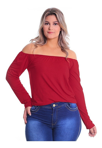 Blusa Ciganinha Plus Size Manga Longa Ombro-ombro Malha