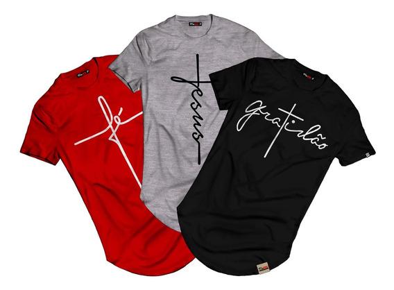 Kit 3 Camiseta Camisa Longline Fé Gratidão Jesus Evangélica