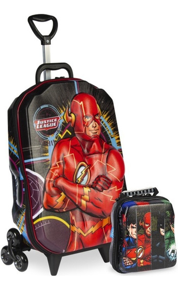 Mochilete Liga Da Justiça Flash 3d Mochila Escolar+lancheira