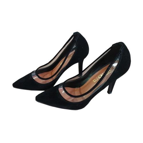 Scarpin Sapato Feminino Nude Verniz-solado Preto