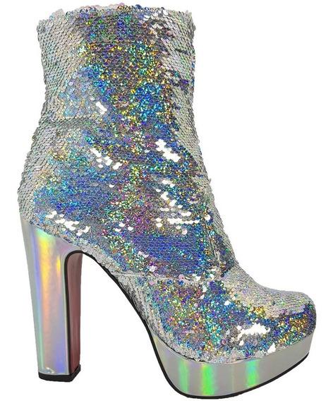 Bota Salto Alto Glitter Furtacor Brilho Dom Amazona Drag C13