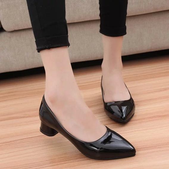 Sapato Feminino Salto Baixo Toe De Couro