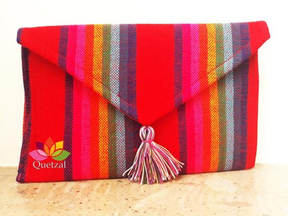 Bolsa Artesanal De Rebozo En Sobre Mexicana Clutch