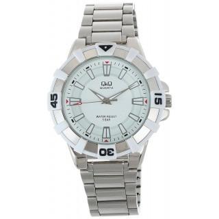 Relógio Masculino Grande Prata Aço Fundo Branco Q&q