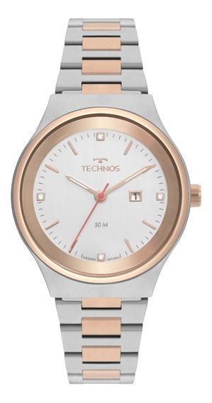 Relógio Technos Feminino Prateado E Rose Eleganc 2015ccb/5k