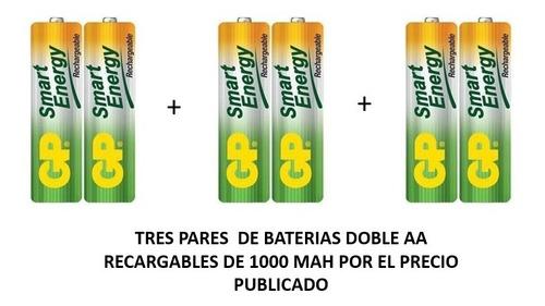 Baterías Recargables Doble Aa De 1000 Mah Gp Originales.