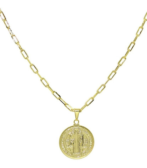 Gargantilha 60 Cm Medalha De São Bento Banhada A Ouro