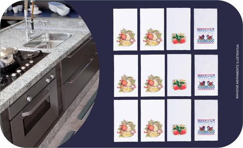 Kit Com 12 Unidades De Pano De Copa 50cm X 65cm Sortidos