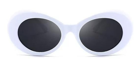 Oculos Kurt Cobain Oval Retro Branco Lente Cores Uv400