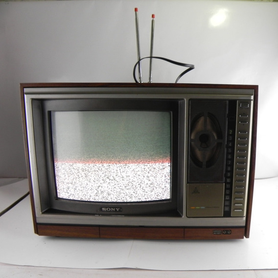 Tv Antiga Sony Trinitron Colorida Kv-1217 Funcionando Madeira P/ Decoração Raridade