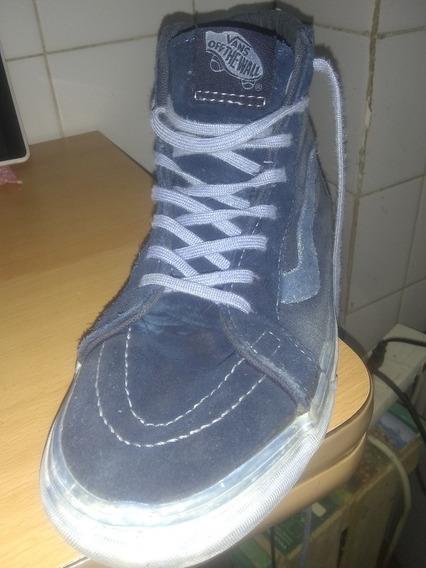 Zapatillas Vans, Gamuza Azul, 36, Como Nuevas, Tipo Botita