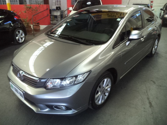 Civic Lxs 1.8 Flex Automatico 2013 Cinza Completo Couro Veja