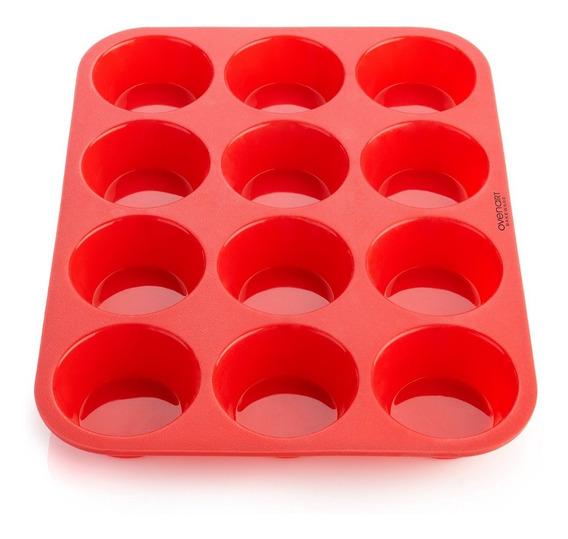 Molde Silicona Goma Horno Muffins Cupcakes X12 Reposteria