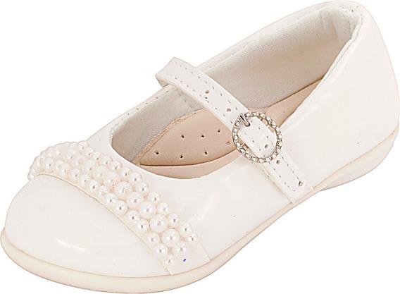Sapatilha Infantil Menina Verniz C/pérolas Plis Calçados 144