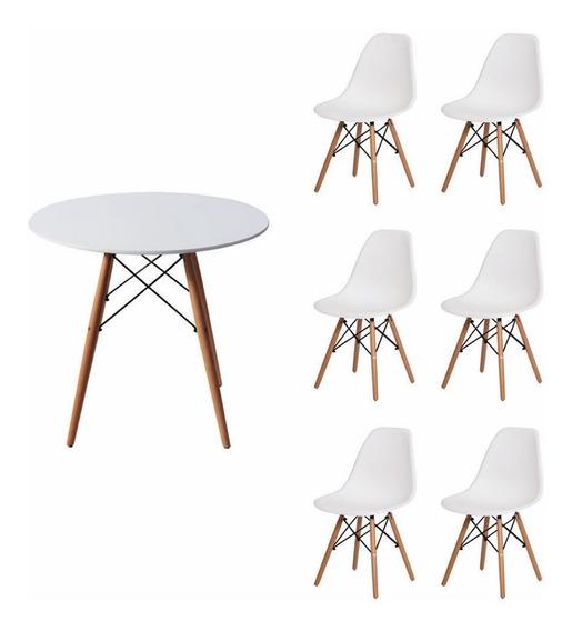 Conjunto Kit Mesa Redonda Jantar 120cm 6 Cadeira Eames
