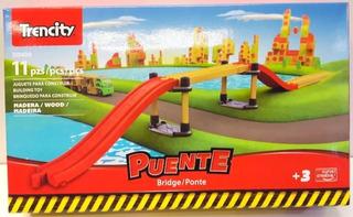 Trencity Puente 11 Pzs 55 Cm Largo Madera Plastico Edu