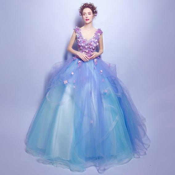 Vestido Xv Años Azul Vintage Flores Envió Gratis ! P-2583