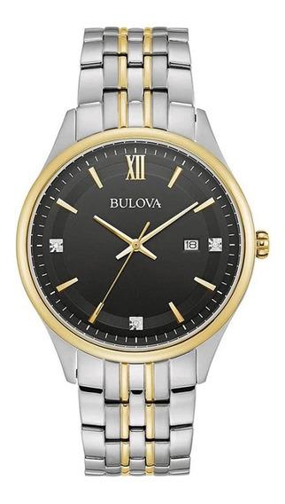 Reloj Bulova Hombre 98d160, 3 Diamantes,certificado,acero