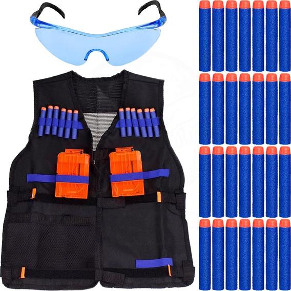 Colete Infantil + Óculos +30 Dardos P/ Armas Brinquedo Nerf