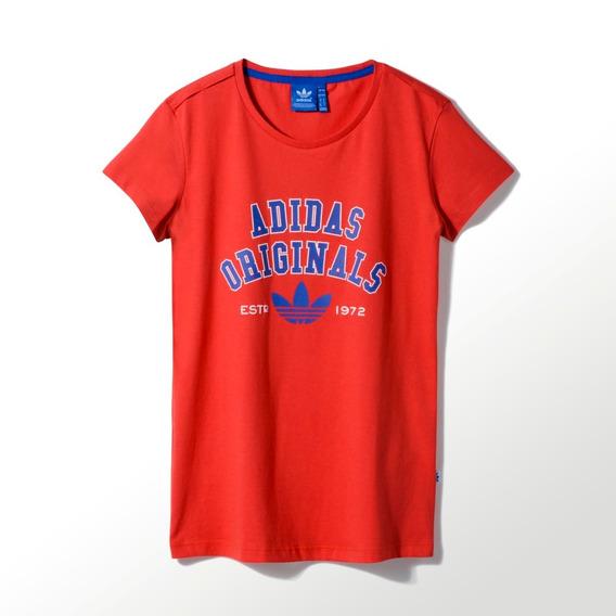adidas Originals Remera Logo Essentials Mujer Roja Azul