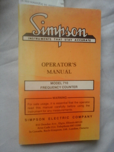 Manual Simpson Eletric  Model 710 Frequency Counter