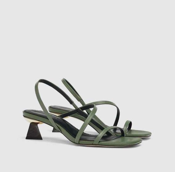 Sandalias Zara Verde Oscuro Taco Madera 2020