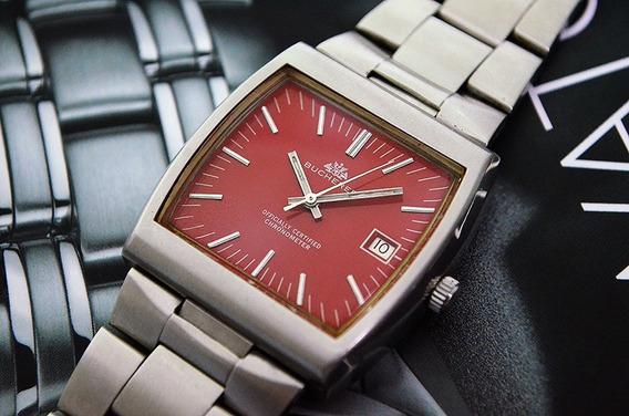 Bucherer Chronometer Vintage - Lindo Dial Red - Único E Raro