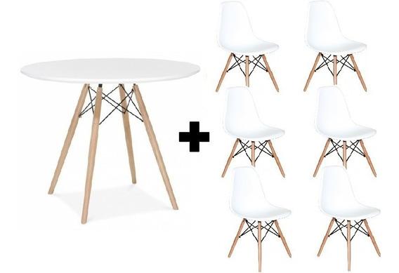 Kit Jogo Mesa Charles Eames Eiffel Tampo 120 Cm 6 Cadeiras