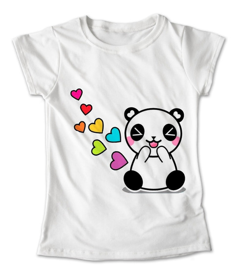 Blusa Oso Panda Colores Playera Estampado Corazones 103