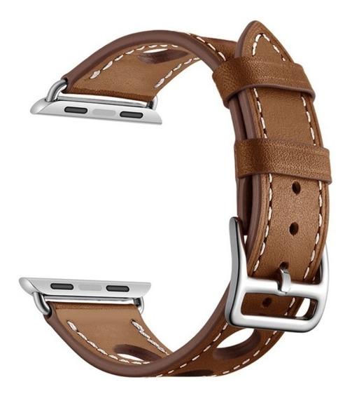 Pulseira Couro Estilo Hermes Furo Apple Watch 42/44mm Marrom