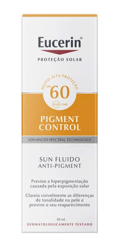 Imagem 1 de 3 de Protetor Solar Facial Eucerin Pigment Control Fps 60 50ml