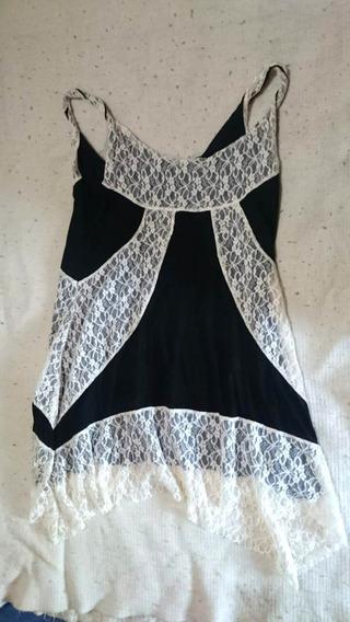 Vestido Para Mujer Blanco Y Negro Artesanal Talle M Nuevo